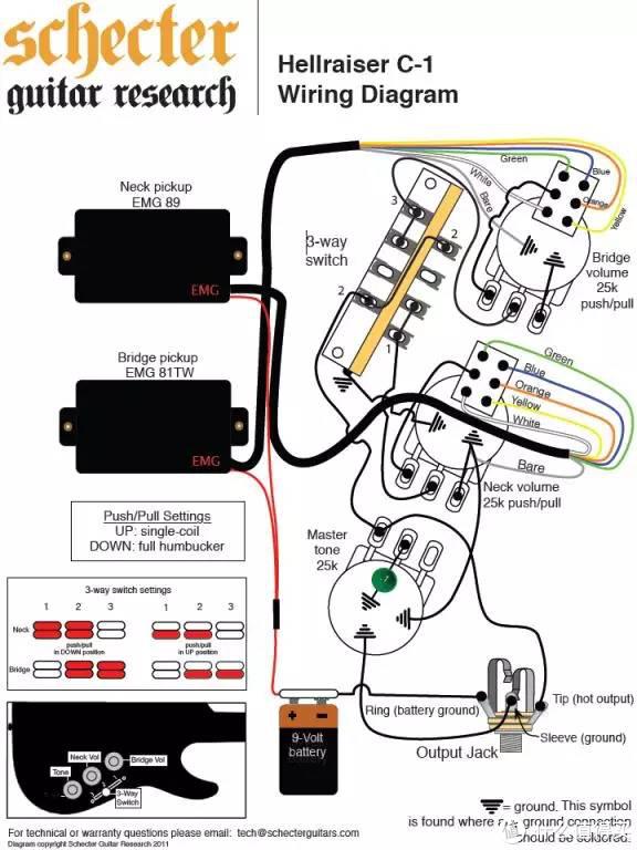 schecter吉他电路图