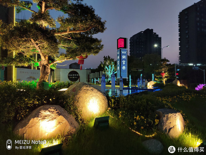 用麒麟臂拿着魅族 Note9在夜晚的小树林——拍照体验还挺优秀