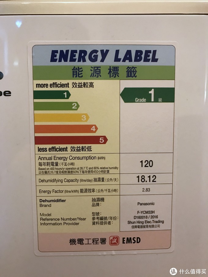 香港的能效标签(26.7℃,湿度60%)
