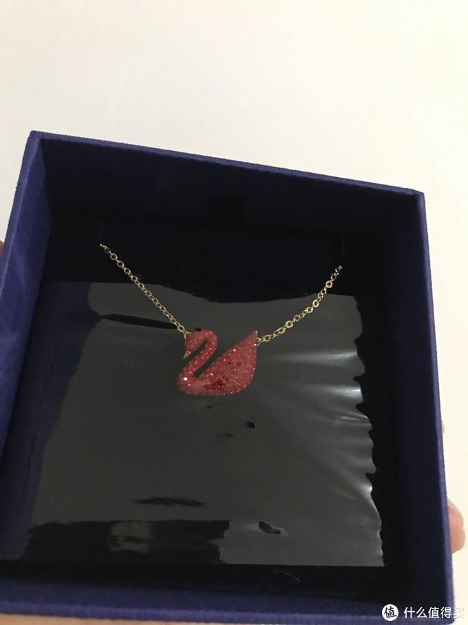 送给老婆的2019年214情人节礼物施华洛世奇红色天鹅吊坠项链晒物分享