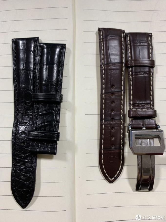 和原来的表带对比了下,左边是原表带,右边是积优鳄鱼皮表带,外观有很大的区别,但手感却是差不多,