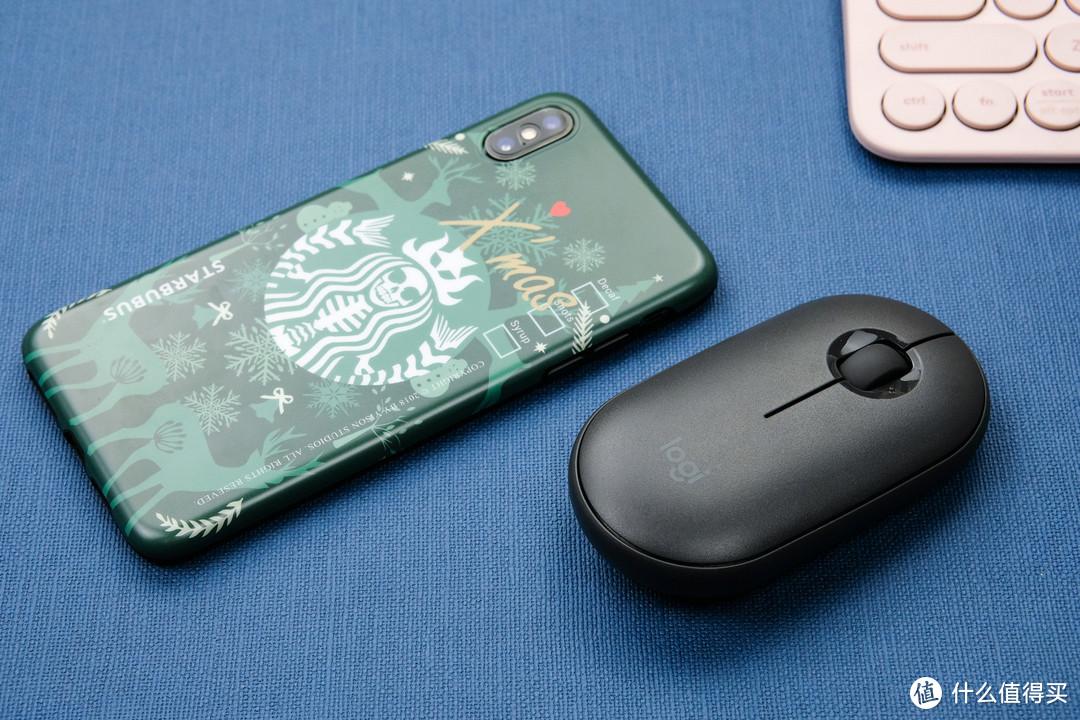 支持多平台之间的完美兼容:罗技Pebble鹅卵石轻薄鼠标+K380多设备蓝牙键盘套装