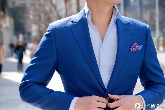 老刘的1881亚麻+真丝+羊毛面料蓝色西服上衣