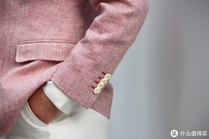 英国DUGDALE粉色350克重磅亚麻女西服