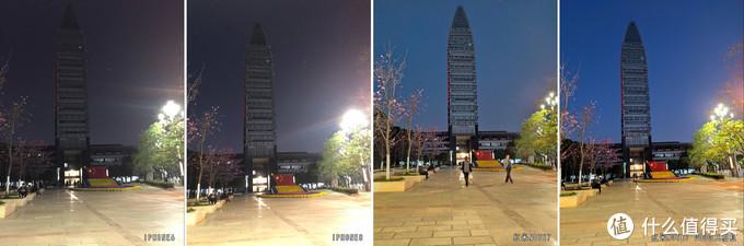 这组差距很明显了,ip败下阵来,但note7自带相机夜景模式在让画面有更多曝光的同时,也让树梢这些部位在合成时有奇怪的模糊,google相机继续吹爆