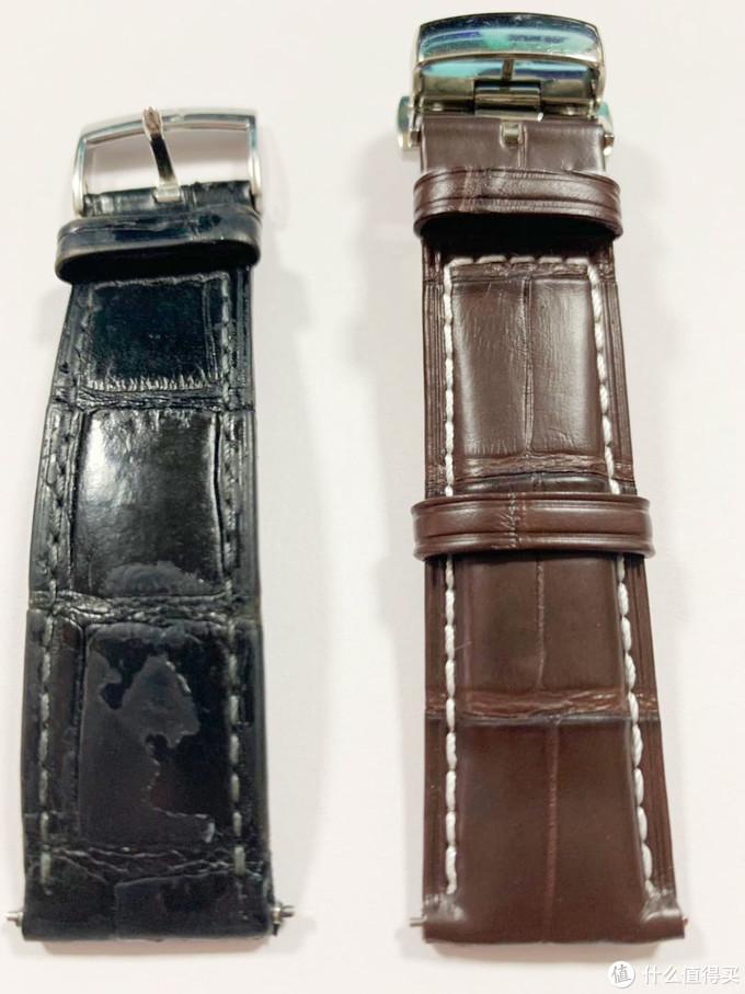 另外一边,左边原鳄鱼皮表带,右边积优鳄鱼皮表带,积优长度更长些,而且竹节纹理很清晰。