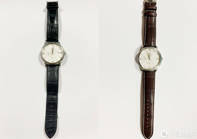 左边原厂表带,右边积优表带,安装效果对比,积优表带配上欧米茄手表也能很高大上的感觉,瞬间换了新手表的既视感。
