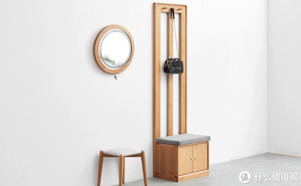 满月造型、可壁挂:源氏木语 上新 一款实木带灯化妆镜