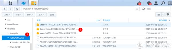 File Station中查看Thunder文件夹