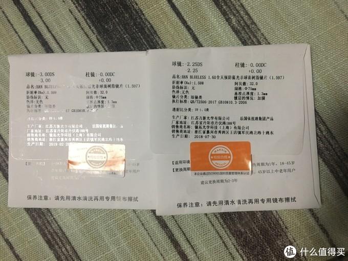 1.60 HAN防蓝光镜片,万新产的,产地丹阳,2片生产时间差了近半年