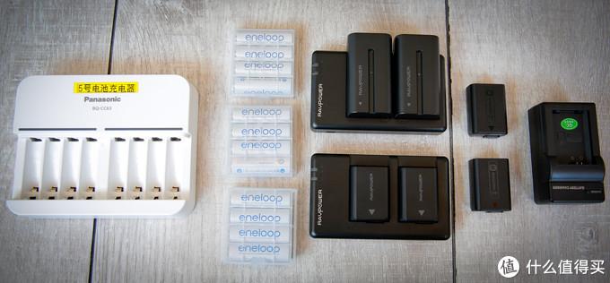 各种电池让人头疼。目前有5号电池、fw50相机电池和f550小监视器电池