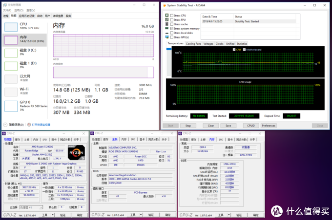 👆F4-3600C18D-16GTRS@R5 2400G DDR4 3600 C18 1.35v25分钟AIDA64内存烤机测试