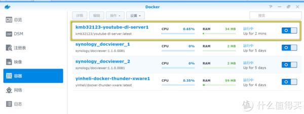 在Docker套件的容器页面,可以看到新增一个正在运行的容器