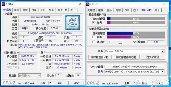 i7-9700K CPU-Z跑分