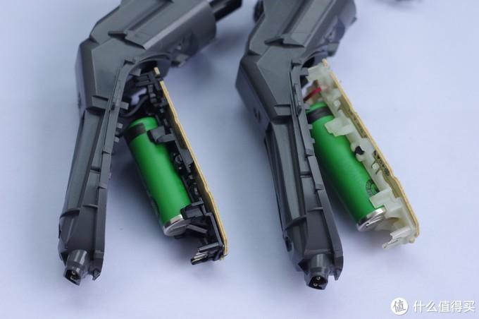 电池对比,可以看出,3500的电池个头比4100的要小,3500电池标签挡住看不到容量,4100的容量是680mha。