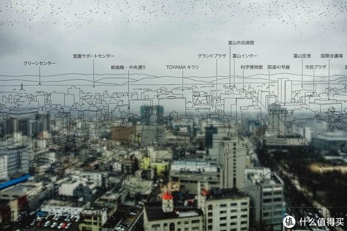 玻璃上还标明了每栋建筑