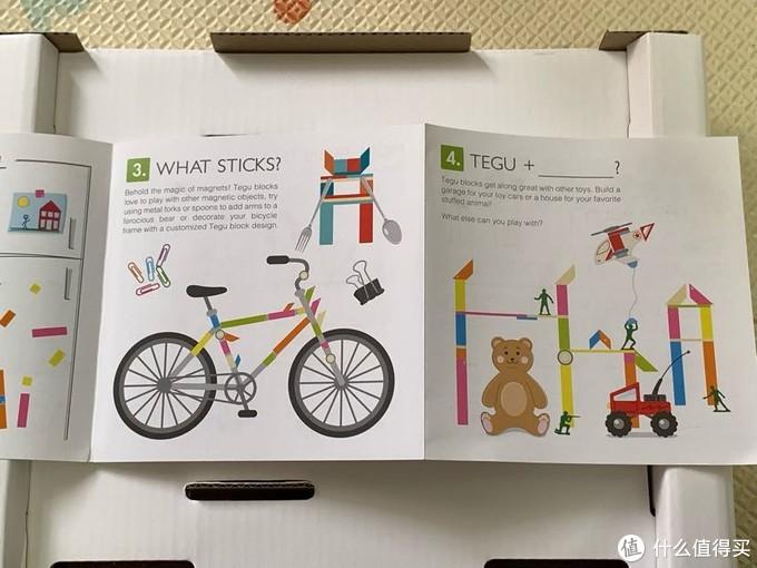 内部有一张介绍信息,可以贴在自行车上也可以搭配其他玩具,对,下次可以试一下配合磁力片。