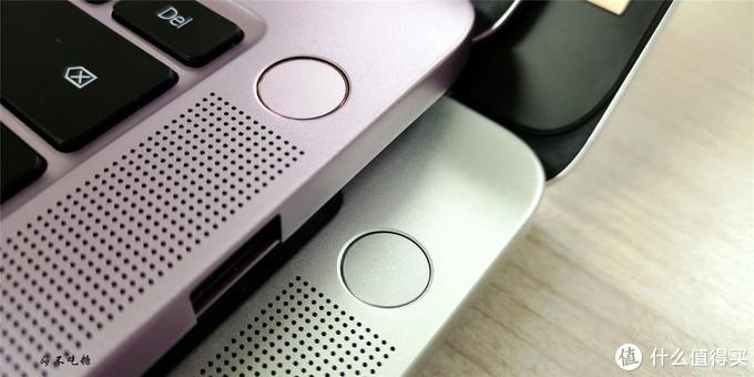 紫色的是指纹开机按键、银色的是单独开机按键