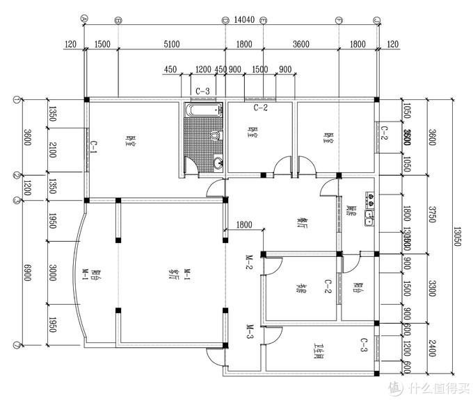 户型图,客厅非常适合构建家庭影院