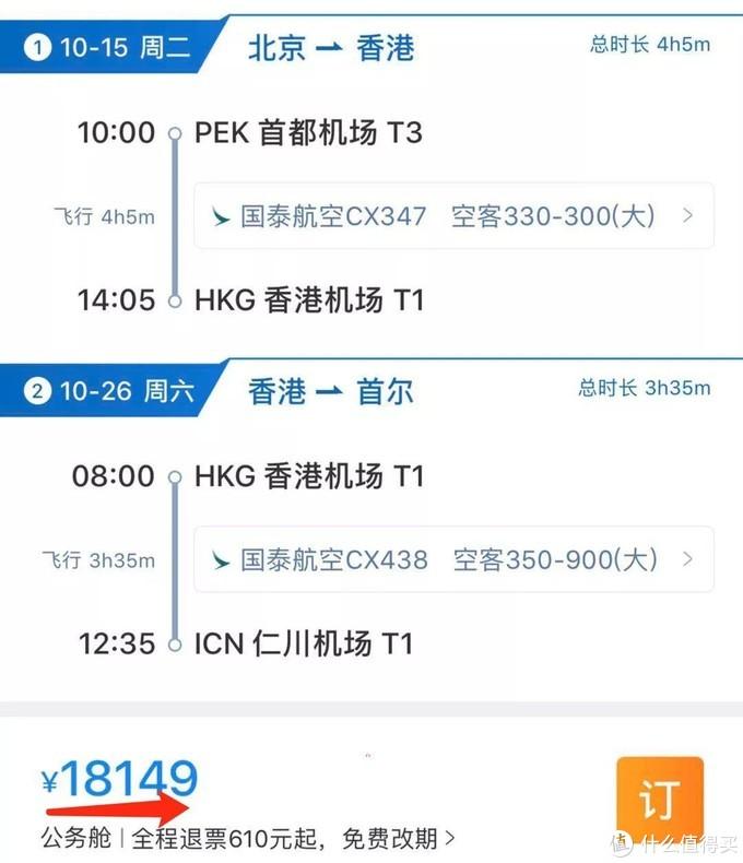 ▲ PEK-HKG-ICN票价