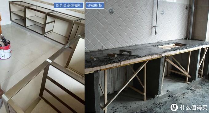 铝合金瓷砖橱柜与砖砌橱柜