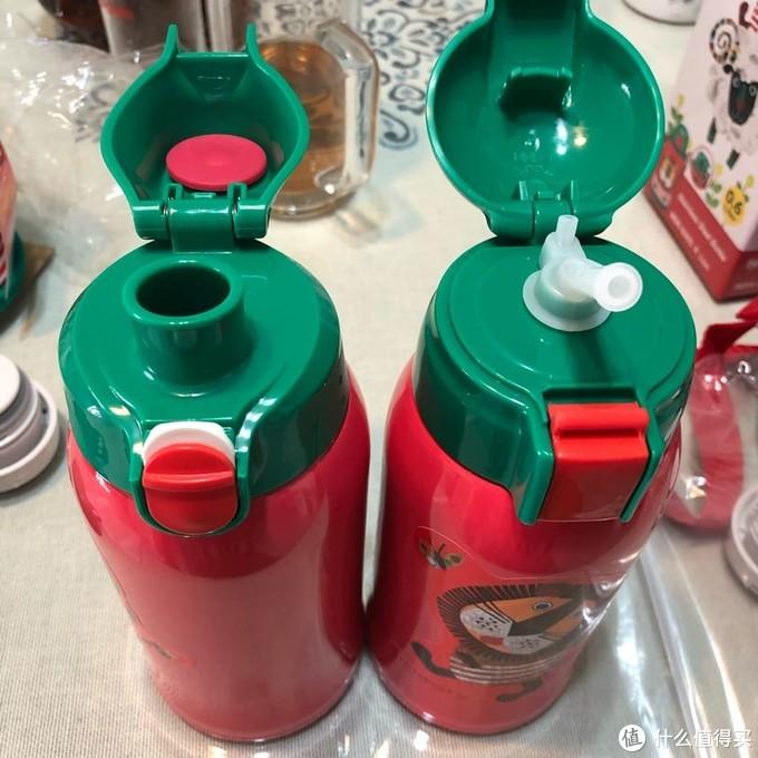 日版没有吸管,只能抬起瓶身饮水;台版带有吸管,适合更小的孩子