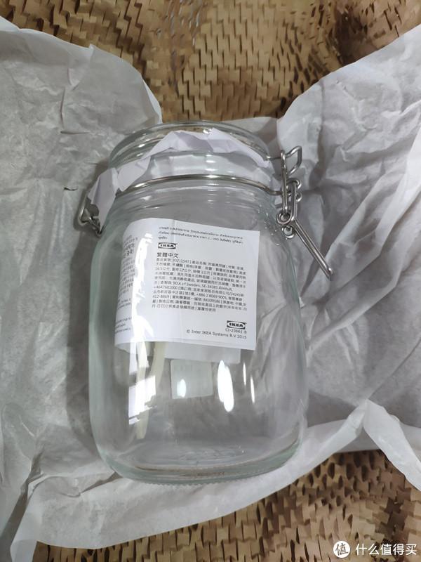 附盖玻璃罐,打算放烘培的咖啡豆