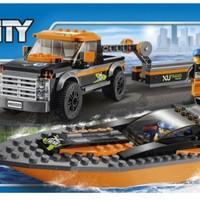 高 60085 城市系列 4X4赛艇运输车外观展示(卡车 轮胎 底盘 履带轮 齿轮)