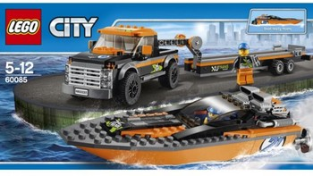高 60085 城市系列 4X4赛艇运输车外观展示(卡车|轮胎|底盘|履带轮|齿轮)