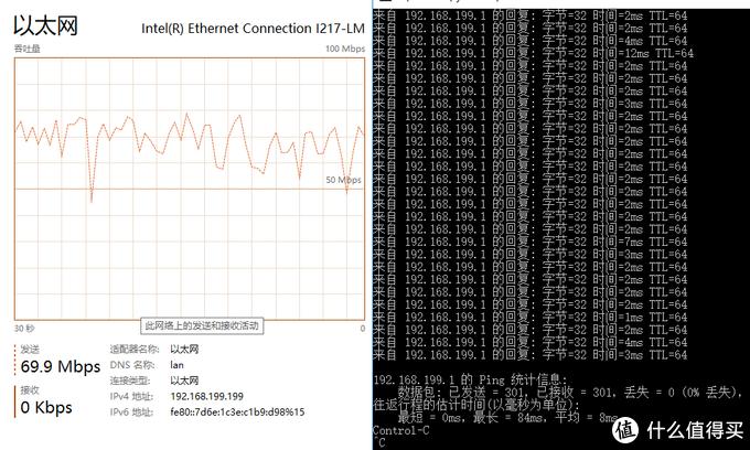 极路由2连接有线,压测结果还是不错的,平均延迟8ms
