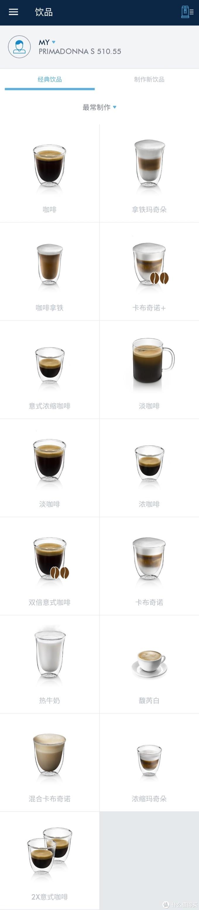 各种口味的咖啡饮品可供选择