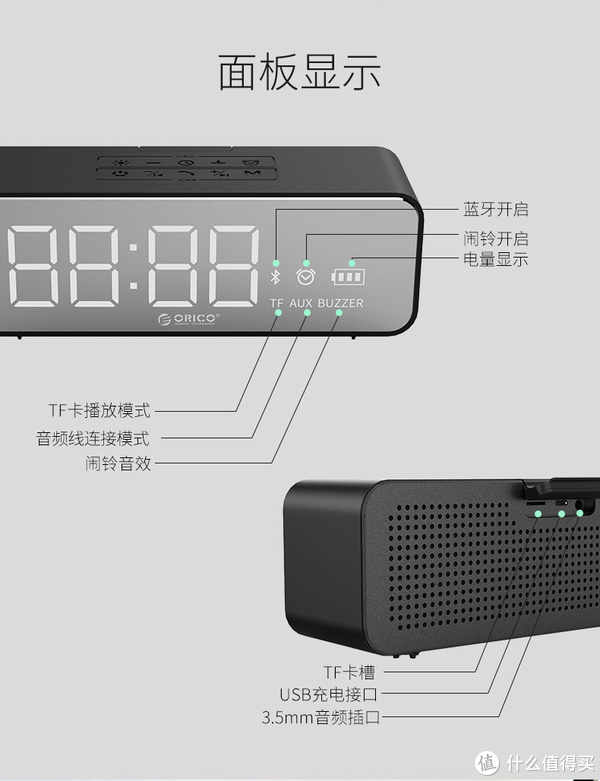 一面音箱,一面时钟,ORICO无线时钟音箱