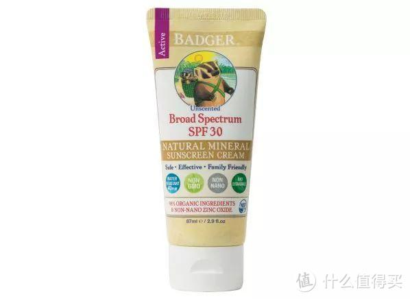 ▲Badger Active Natural Mineral Cream SPF 30 Unscented sunscreen