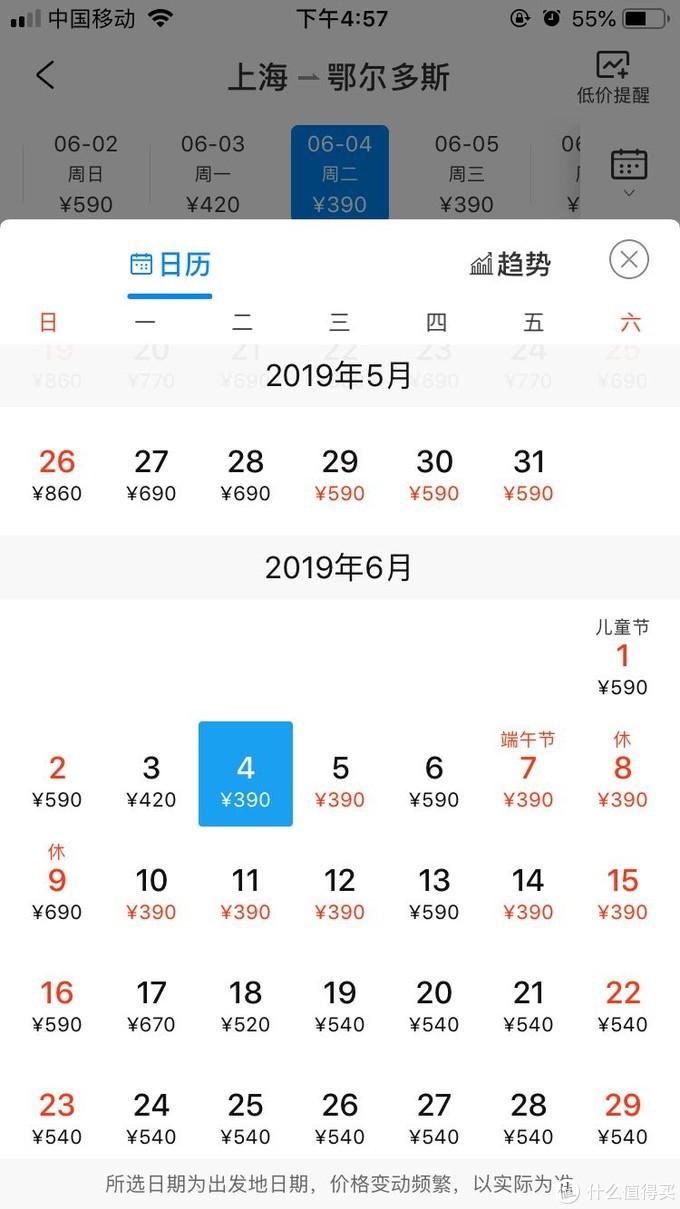 上海——鄂尔多斯机票价格表