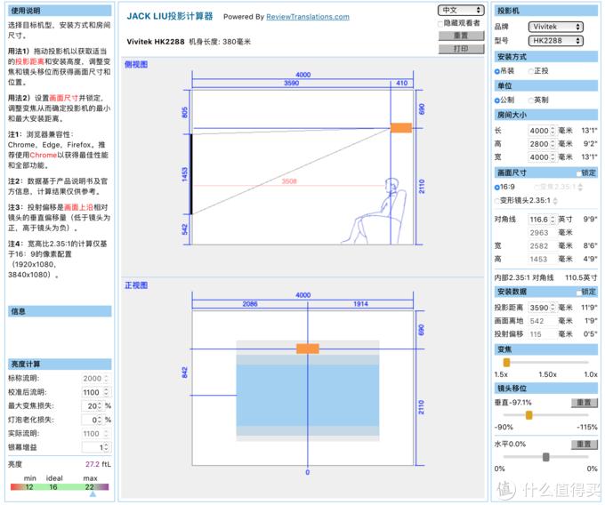 HK2288投影计算参数