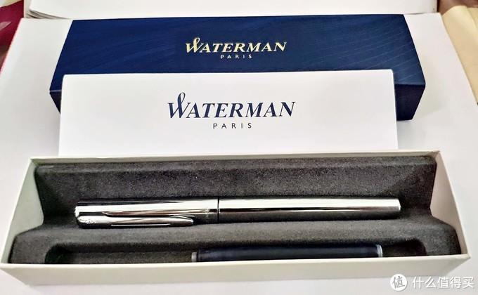 打开里面是钢笔,蓝色墨胆一个,各种语言的说明书一本