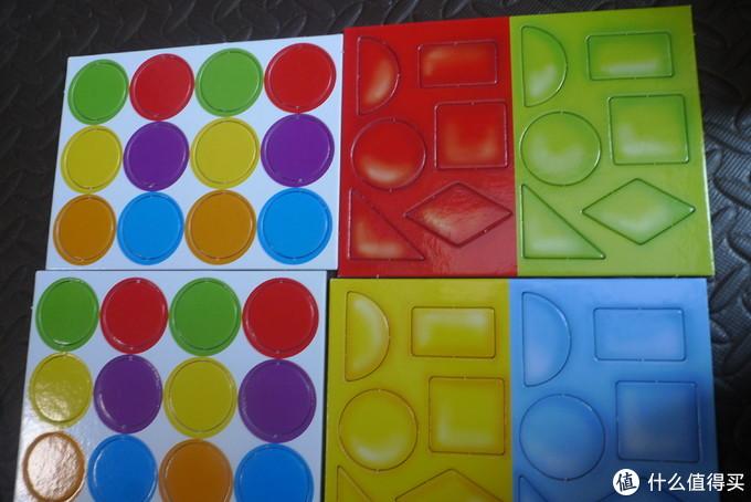 左侧是颜色卡片,右侧是形状卡片。