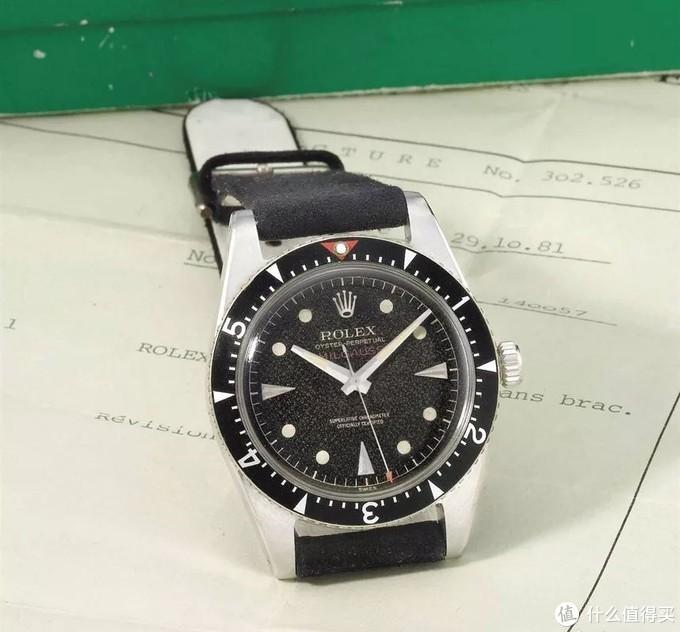 第一代Milgauss Ref.6543,产于1955年,楔形刻度表圈,12点位红三角,后换Ref.1019时分秒针,佳士得2012年11月12日日内瓦拍卖,成交价含佣171,000瑞郎