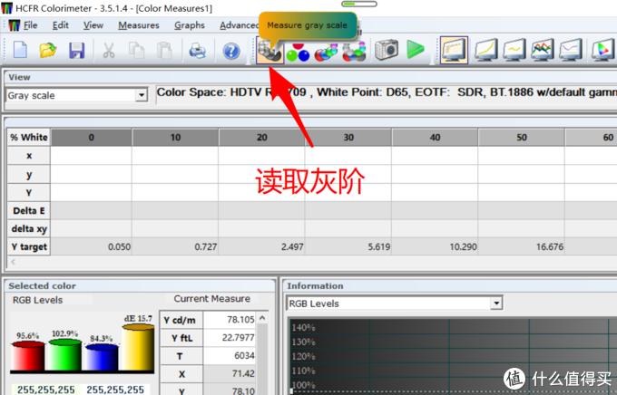 点这个按钮,然后根据屏幕提示读取0-100的灰阶数据,共11个