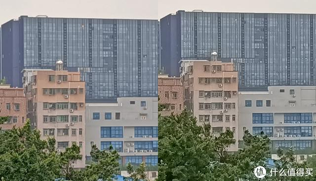 (中心截图,左:普通模式,右:4800万像素,4800万像素在细节上明显要更丰富。)