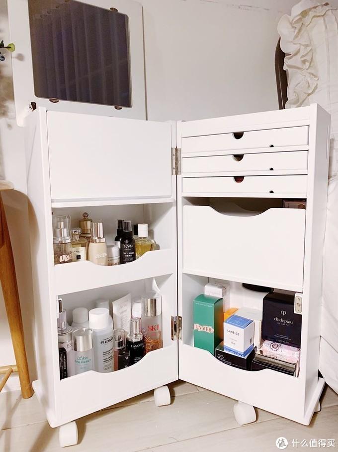 日式梳妆台 迷你翻盖折叠移动化妆柜 可变形收纳