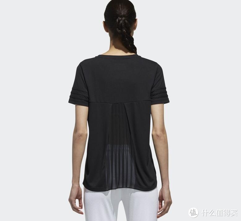 背后半透明的Adidas neo W CS PLT BK TEE 女式T恤