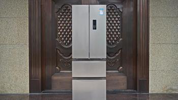 美的320L四门三温冰箱外观展示(面板|尺寸|显示屏|触控键|开关)