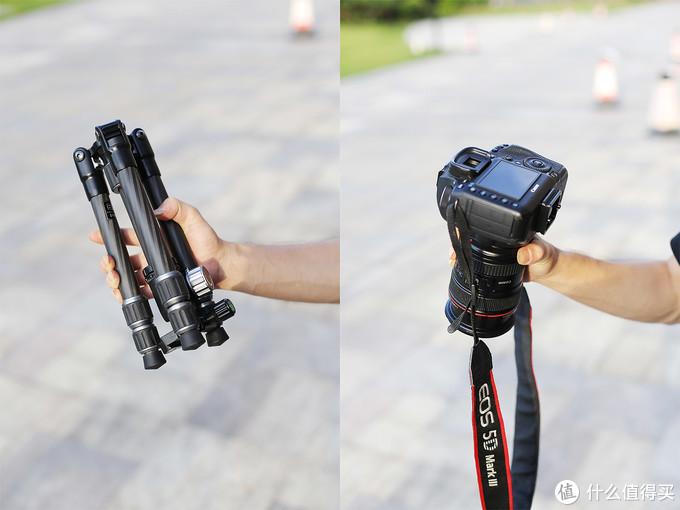 劲捷G028比相机长一点,比相机还轻一点