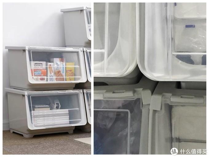 左:最开始购入的收纳箱全貌。右:没放什么重物就已经变形到没办法闭合。