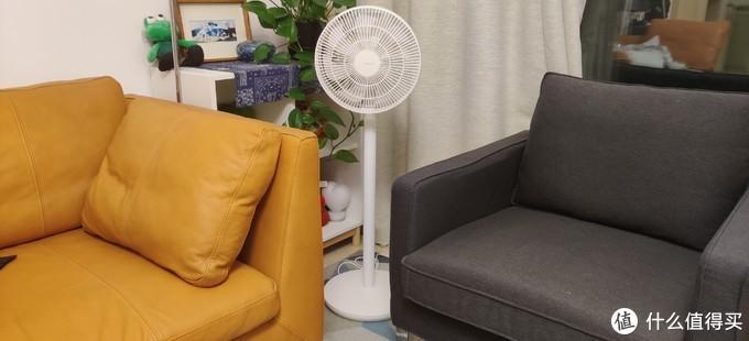 它高度正好可以高出沙发,减少了风的阻挡