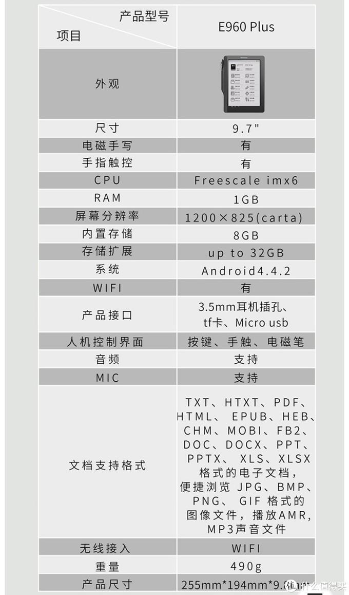 汉王E960plus参数