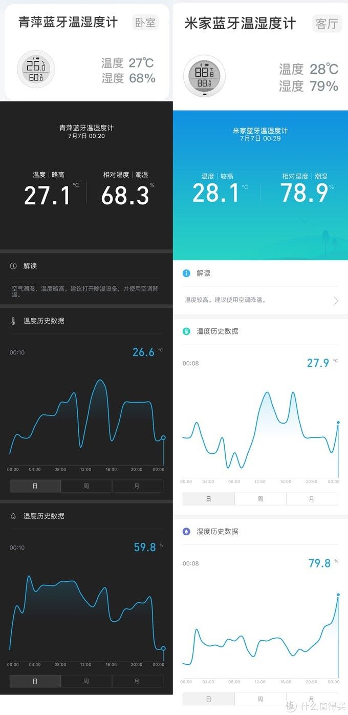 米家App首页与详情页 左:青萍款 右:米家款