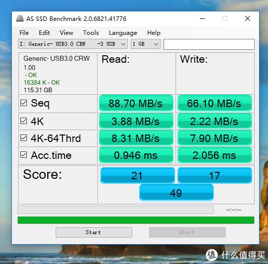 AS SSD,此时总分49