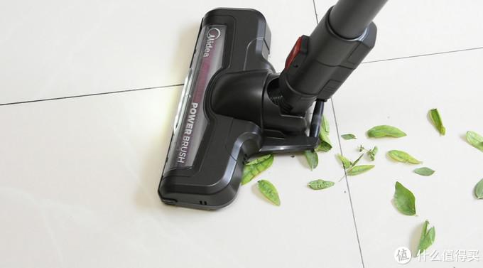 针对小树叶大小的垃圾,吸尘器表现不俗。一次性吸走,非常到位。